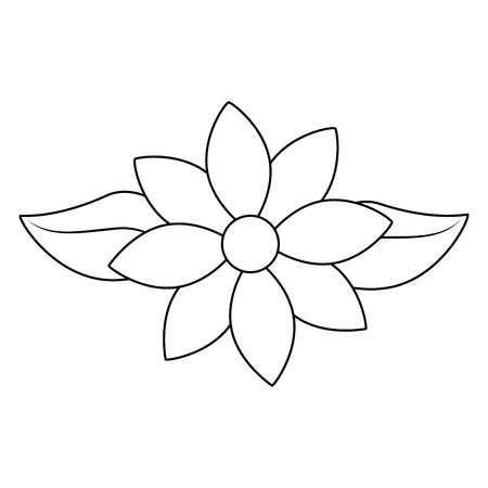 jasmine flower leaves decoration ornament vector illustration outline image Illustration