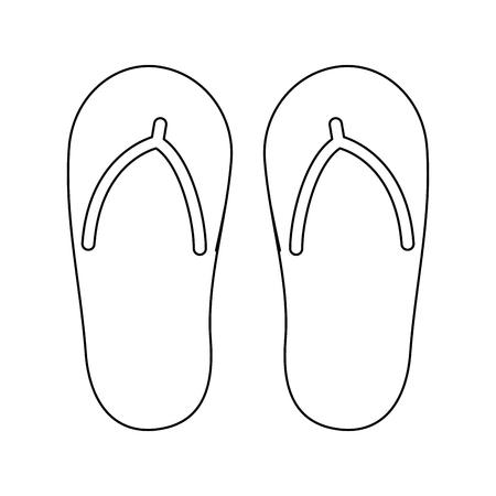flip flop footwear rubber accessory vector illustration outline image