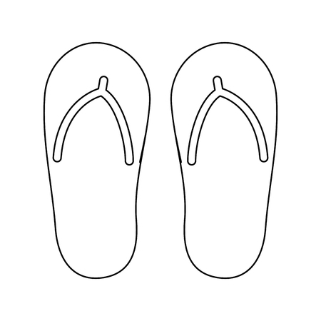 flip flop footwear rubber accessory vector illustration outline image