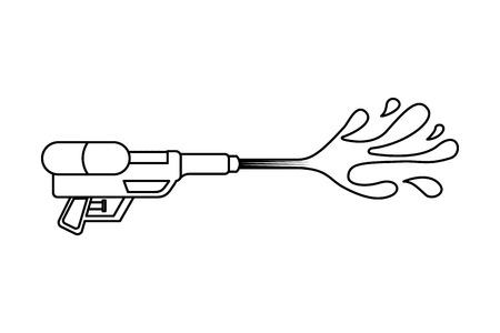 water gun shoot splash toy plastic vector illustration outline image