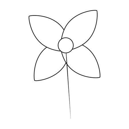weather vane in a shape of flower decoration vector illustration outline image