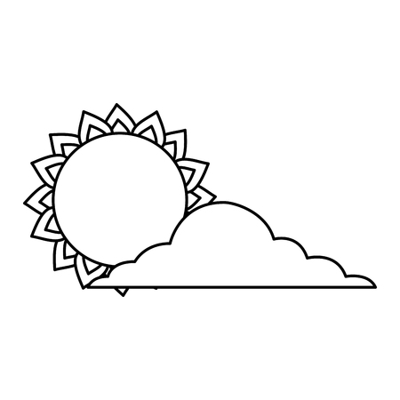 summer sun cloud weather day sky vector illustration outline image