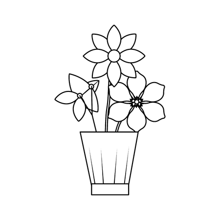 flowers jasmine frangipani in vase decoration ornament vector illustration outline image