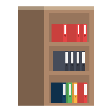 wooden library with books vector illustration design