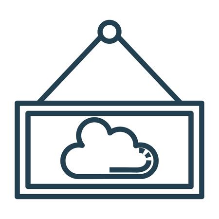 雲の分離アイコンベクトルイラストデザインでラベル掛け