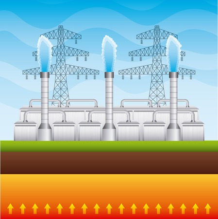 Geothermal plant renewable energy vector illustration