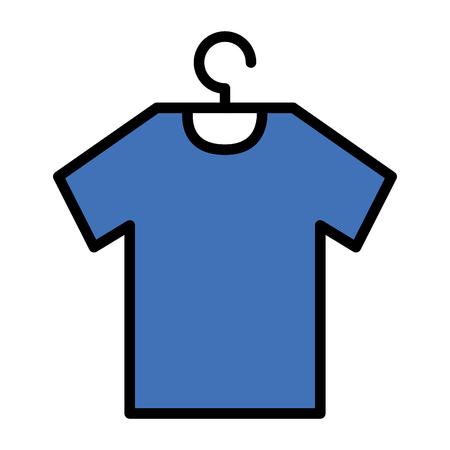 Camisa colgada en el diseño del ejemplo del vector del gancho de alambre Foto de archivo - 96898631
