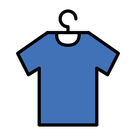 Shirt hanging in wire hook vector illustration design