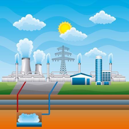 Stacja energii geotermalnej czystej - ilustracji wektorowych energii odnawialnej Ilustracje wektorowe