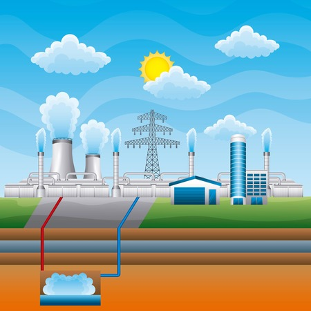 Station geothermal power clean - renewable energy vector illustration