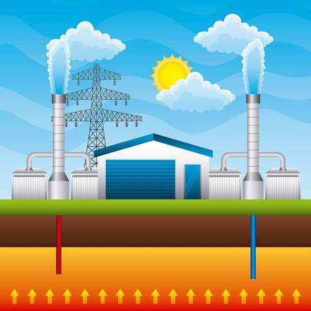 Generador de planta de energía geotérmica y almacenamiento subterráneo - ilustración vectorial de energía renovable
