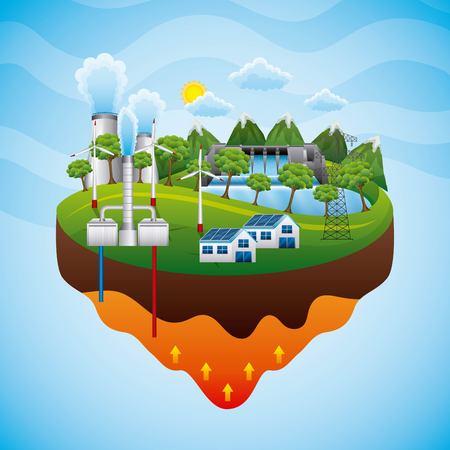 Geothermische installatie elektriciteit pyloon hydrolelectric dam zonnepaneel - duurzame energie vectorillustratie