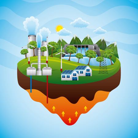 Geothermal plant electricity pylon hydrolelectric dam solar panel - renewable energy vector illustration