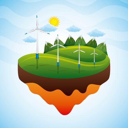 Landscape wind turbines sustainable - renewable energy vector illustration