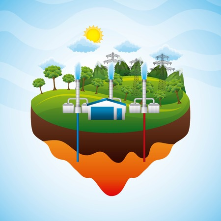 landscape geothermal station electricity pylon - renewable energy vector illustration