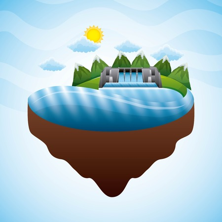 landscape hydroelectric dam electricity - renewable energy vector illustration