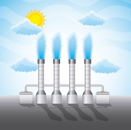 geothermal station chimneys clouds sun - renewable energy vector illustration Ilustração
