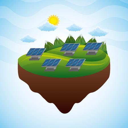 landscape mountains panels solar source electricity - renewable energy vector illustration