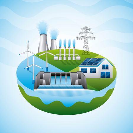 differents resources hydro dam panel solar power plant - renewable energy vector illustration 일러스트
