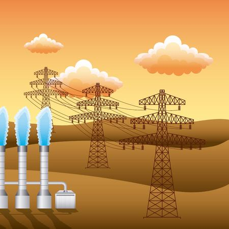 landscape sunset and plant electricity pylon - renewable energy vector illustration Ilustração