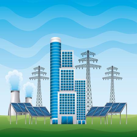 smart building panel solar and electricity pylons power plant - renewable energy vector illustration