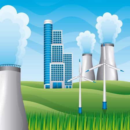 building power plant reactor windmills in field - renewable energy vector illustration Stock Illustratie