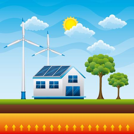 house countryside panel solar wind tubines - renewable energy vector illustration Illustration