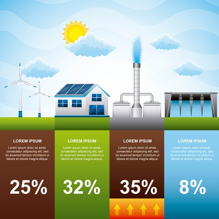 infographic alternative power sources energy modern renewable energy vector illustration