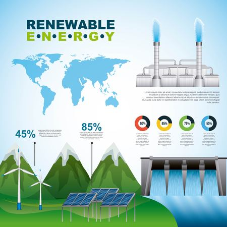 Renewable energy ecology infographics collection solar wind water industry charts graphs Stock Illustratie