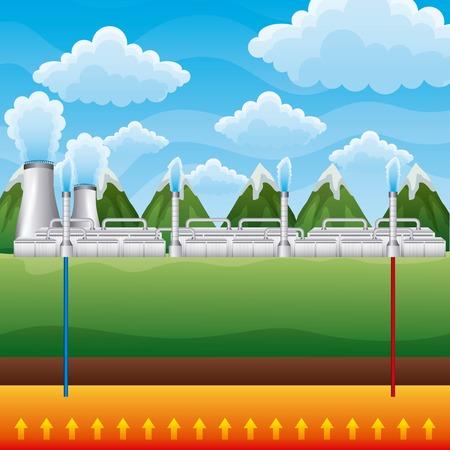 Power plant geothermal landscape mountains - renewable energy vector illustration Stock Illustratie