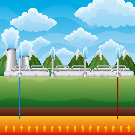 Power plant geothermal landscape mountains - renewable energy vector illustration Vettoriali