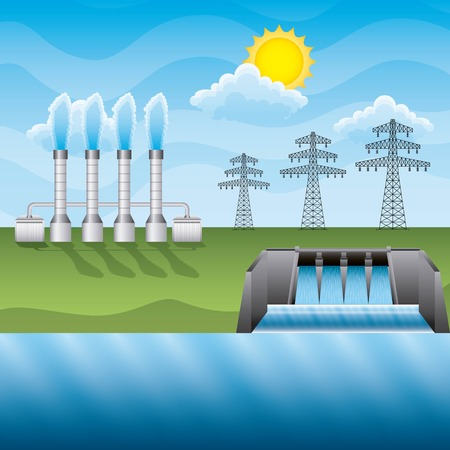 Plant geothermal hydroelectric dam electricity pylon in field - renewable energy vector illustration
