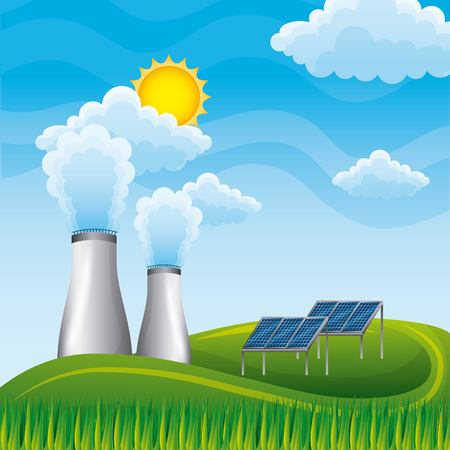 Nuclear power plant panel solar in meadow natural - renewable energy vector illustration