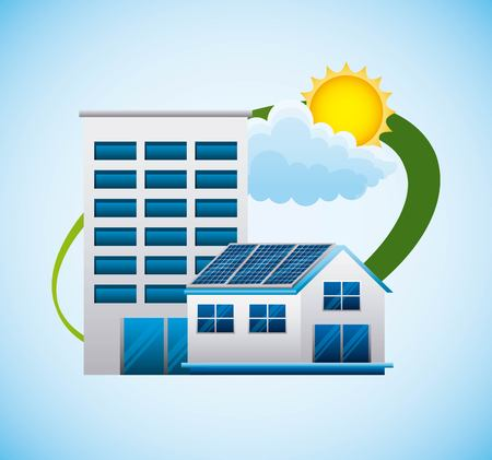 Building house bio energy alternative - renewable energy vector illustration