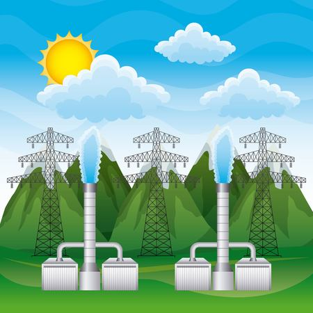 Geothermal plant and electricity pylons and landscape mountains - renewable energy vector illustration Ilustração