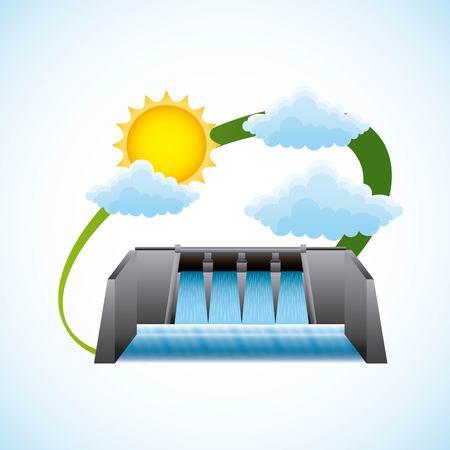 Hydroelectric dam cloud sun ecology environment - renewable energy vector illustration