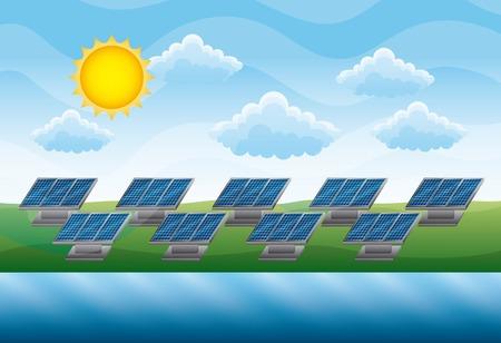 Panneau solaire de champ vert rivière - illustration vectorielle d'énergie renouvelable