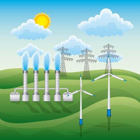 Landscape wind turbines electricity pylon and geothermal plant - renewable energy vector illustration Illustration