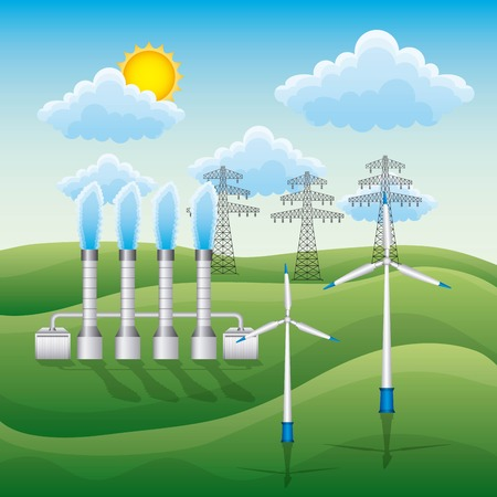 Landscape wind turbines electricity pylon and geothermal plant - renewable energy vector illustration Stock Vector - 96899376