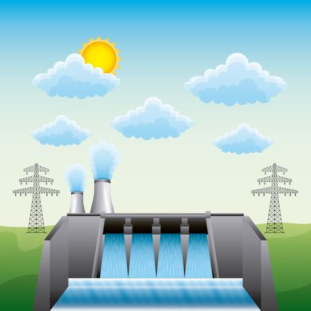 Hydroelectric dam nuclear plant and electric pylon - renewable energy vector illustration