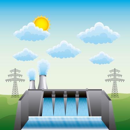 Central nuclear de la presa hidroeléctrica y pilón eléctrico - ilustración vectorial de energía renovable
