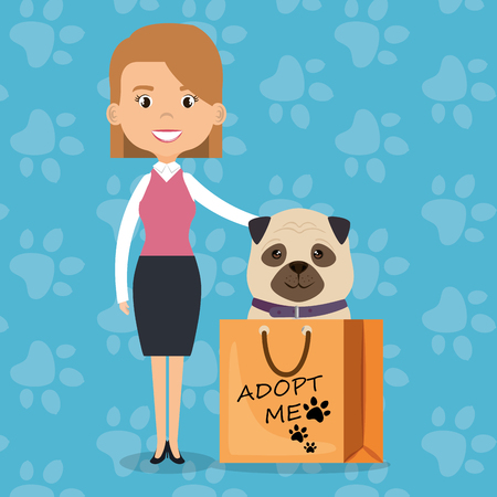family members with pet characters vector illustration design