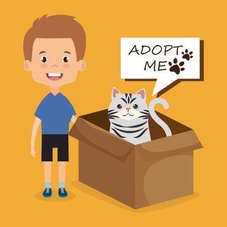 boy with cat character vector illustration design Stock Vector - 97197616