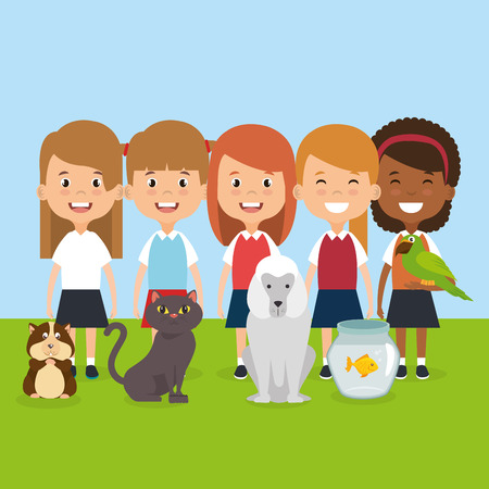 kids with pets characters vector illustration design