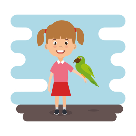 girl with parrot character vector illustration design