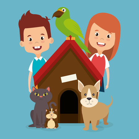 kids with pets characters vector illustration design Standard-Bild - 96900312
