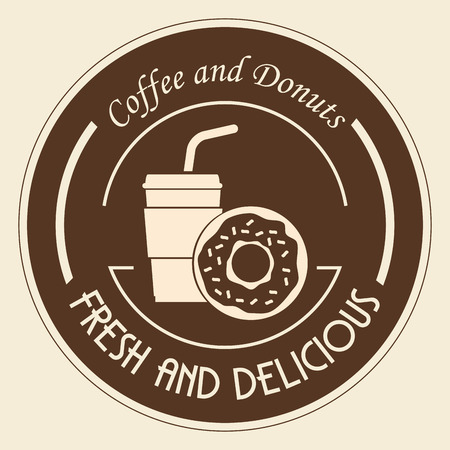 Delicious coffee plastic pot and donut vector illustration design