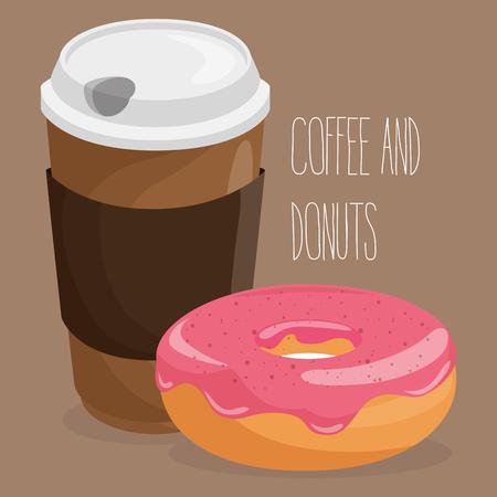 Delicious coffee plastic pot and donut vector illustration design