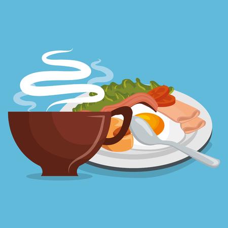 Delicious coffee with breakfast vector illustration design Illustration