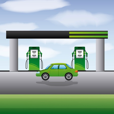 Ilustracja wektorowa biopaliwa transportu samochodu benzyny stacji